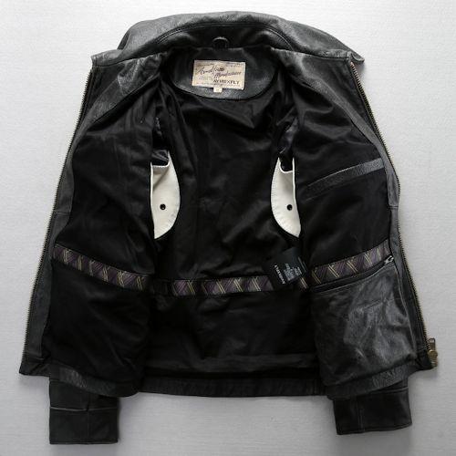 Men Retro Vintage Black Fray Cowhide Leather Casual Bomber Jacket SKU-116055
