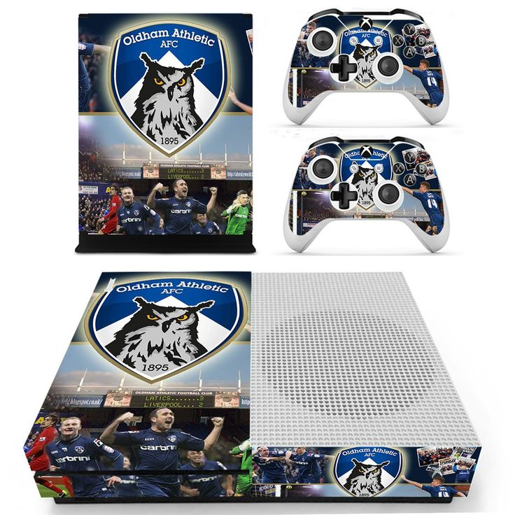 Oldham athletic AFC design skin decal for xbox one S console and 2 controllers