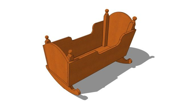Large preview of 3D Model of Colonial Cradle | Projects to Try | Pinterest | Babies