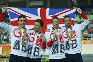 Great Britain's Steven Burke, Owain Doull, Ed Clancy and Sir Bradley Wiggins…