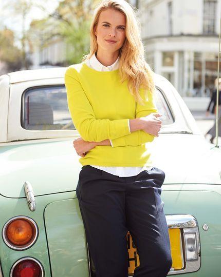 Merinowolle / Kaschmir Pullover mit Reißverschluss hinten in gelb