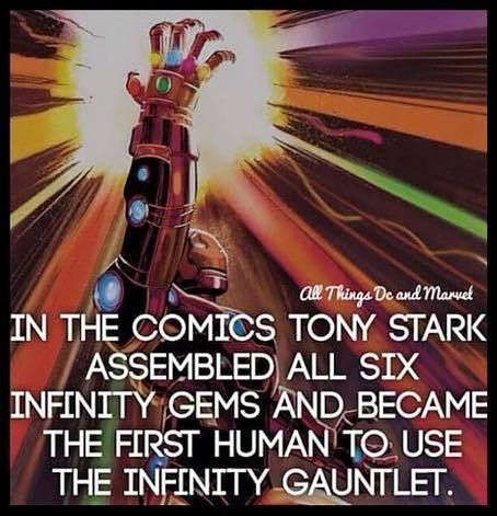 In the #comics #TonyStark Assembled all six infinity Gems and became the first human to us the #infinitygauntlet