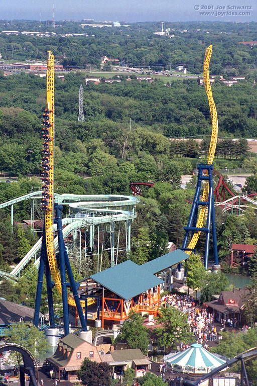 "Vertical Velocity  Six Flags Great America, Gurnee, Illinois, USA.  Dubbed V� for short, this ""impulse coaster"" from Intamin uses electromagnets to accelerate the train back and forth through the station. Another set of magnets gives riders a sudden scare by stopping the train in mid-air."