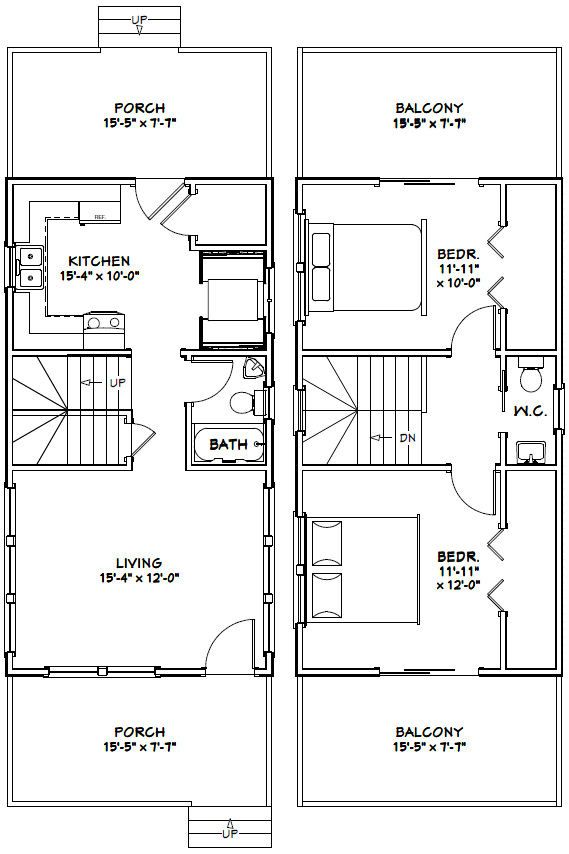 16x30 tiny house 16x30h6g 873 sq ft excellent floor plans - Tiny House Plans