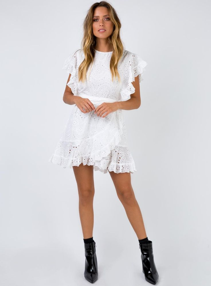 Dandelion Mini Dress White – US 0 / White