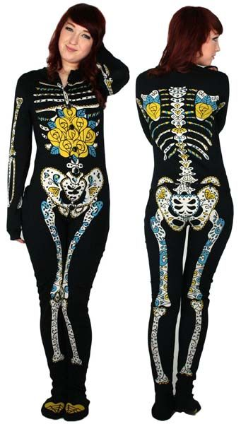 NEW - Sugar Skull Zombie Bones Skelly Pajamas by Too Fast Clothing - comfy PJs with a bum flap!!!