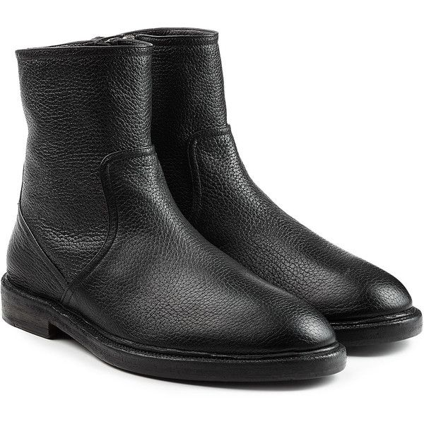 Burberry Shoes & Accessories Leather Ankle Boots ($989) ❤ liked on Polyvore featuring men's fashion, men's shoes, men's boots, black, mens black shoes, mens leather zipper boots, mens zip boots, mens zipper boots and mens black boots