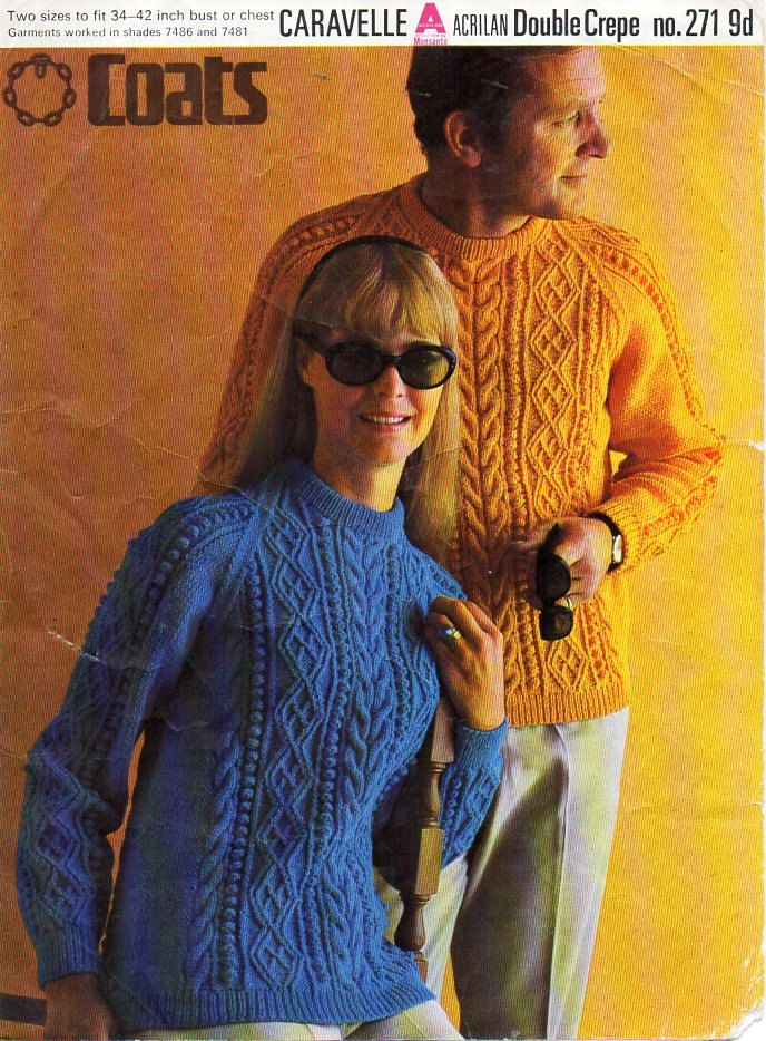 ladies mens aran sweater knitting pattern pdf vintage 60s womens aran jumper crew neck 34-42 inch DK light worsted 8ply pdf download by coutureknitcrochet on Etsy