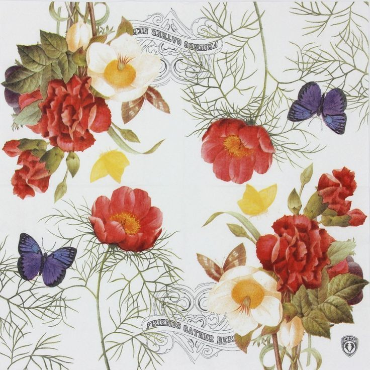 AmazonSmile: Vintage Floral Paper Napkins, Alink Flowers Butterfly Pattern Napkins for Weeding Tea Party Shower, 20 Count: Kitchen & Dining