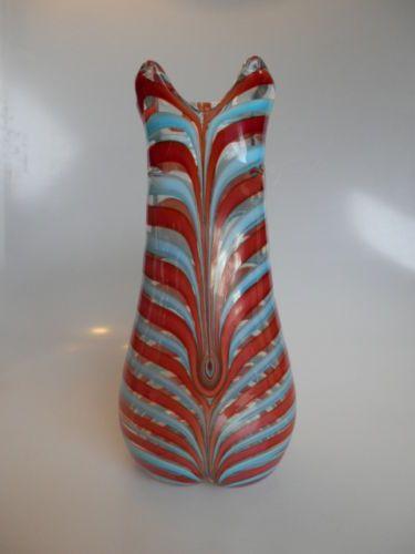 "$2,080.   Nov.2014.   60s-Fenicio-vase-Bikini-Fulvio-Bianconi-design-marked-Venini-Murano-Italia. 60s "" Bikini "" vase, Fenicio decor, designed by Fulvio Bianconi.  Height:  10.7  inches          Three line acid stamp Venini Murano Italia"