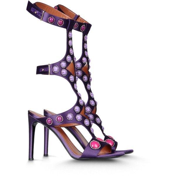 Alberta Ferretti Heel Shoes ($670) ❤ liked on Polyvore featuring shoes, sandals, heels, purple, purple rhinestone shoes, alberta ferretti, rhinestone heel shoes, rhinestone shoes and heeled sandals