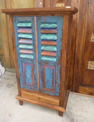 Bali Furniture Recycled Boat Timber Wooden Cabinet Cupboard Dresser Wardrobe Blue, Red, Green