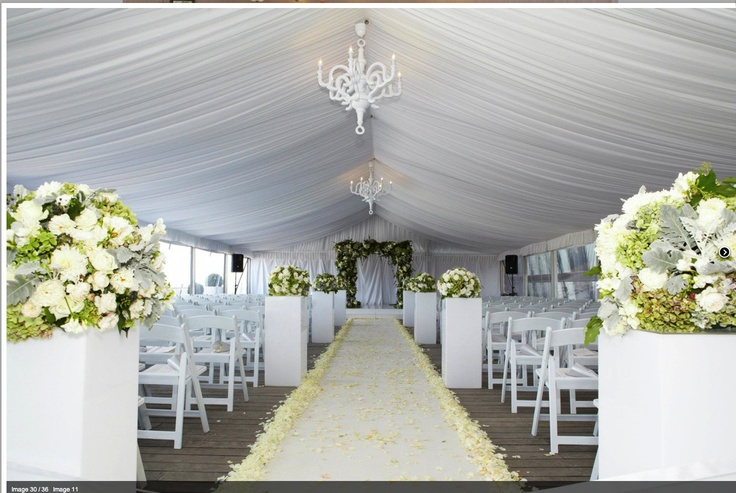 Our Silk lined White Marquee created a great setting for this gorgeous Wedding Ceremony