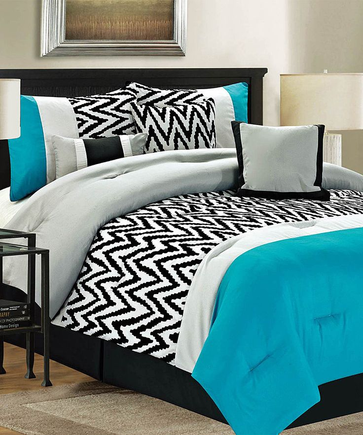 Teal bentley comforter set color combos colors and the for Black and teal bedroom designs