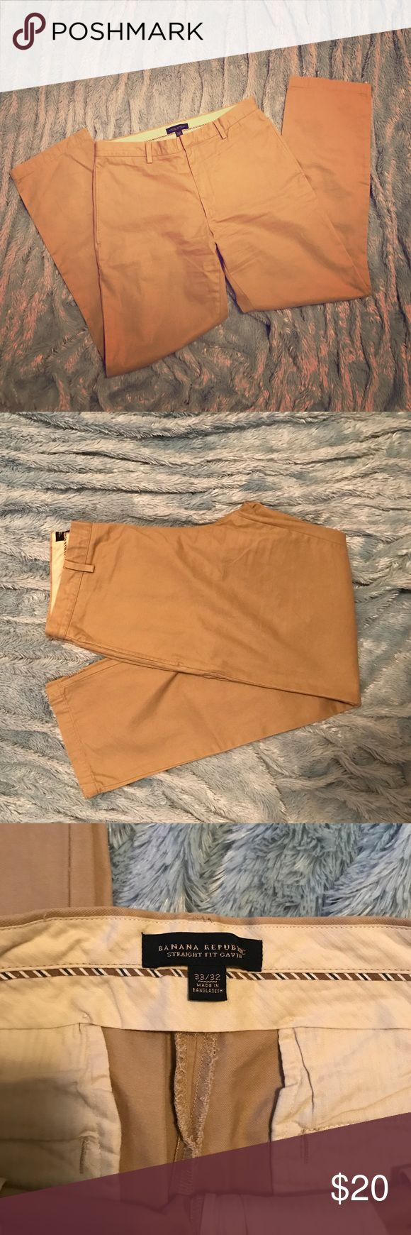 Men's khaki pants Men's Banana Republic khaki straight leg Gavin flat front pants. 33x32 Banana Republic Pants Chinos & Khakis