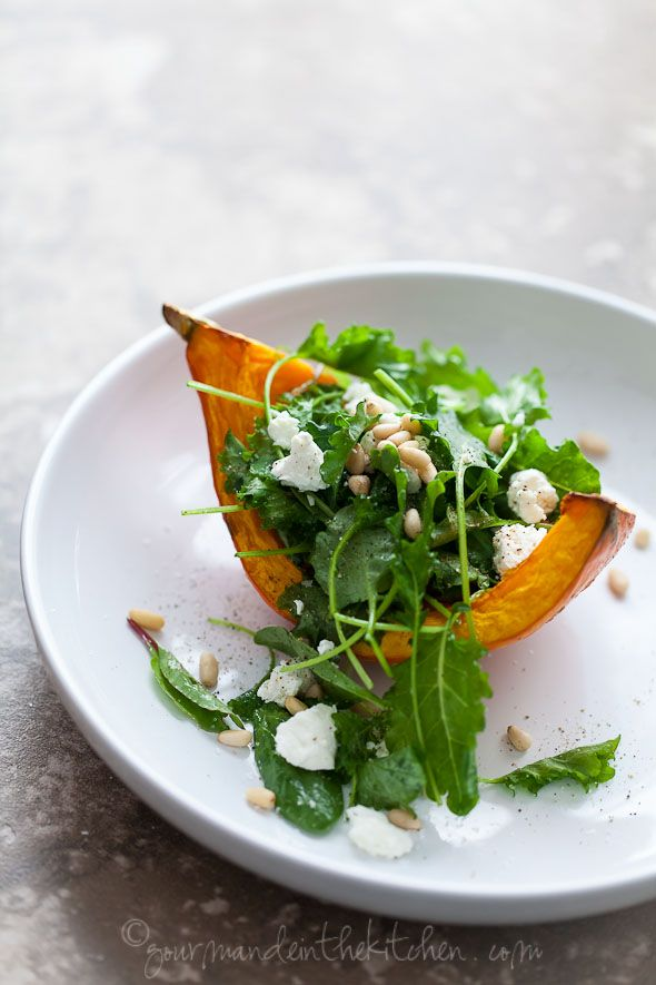 Roasted Winter Squash Salad with Goat Cheese and Pine Nuts by gourmandeinthekitchen #Salad #Roasted_Squash