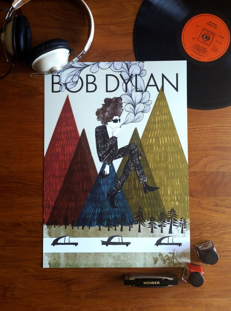 Bob Dylan 'Highway 61' 1960s Illustration Poster A3 by EmyLouHolmes on Etsy https://www.etsy.com/listing/209600764/bob-dylan-highway-61-1960s-illustration