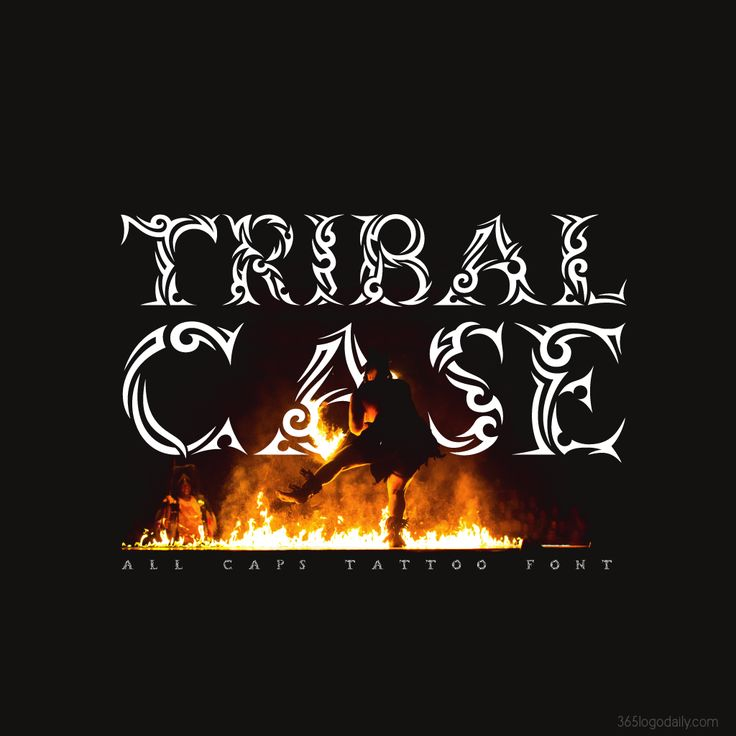 Tribal Case - An all uppercase tribal tattoo font.