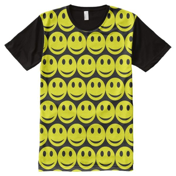 496f42110 Cute Faces Pattern Black Yellow All-Over-Print Shirt | Zazzle.com ...