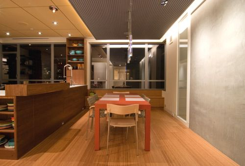 Seattle Penthouse dining area with drop soffit
