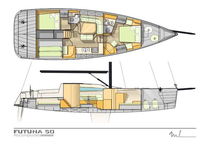 Futuna 50 voilier aluminium composite - plan d'intérieur Marc Lombard