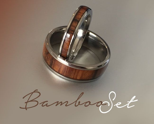 Titanium And Bamboo Inlay Wedding Ring Set Finished With A Protective Resin Coating Modern Wedding Rings Black Titanium Ring Titanium Rings