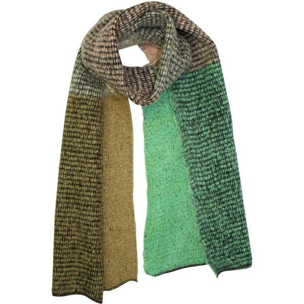 Mint Cream & Tan Oversize Fuzzy Blanket Scarf ($13) ❤ liked on Polyvore featuring accessories, scarves, green, heavy, long scarves, oversized scarves, green scarves, long shawl and green shawl
