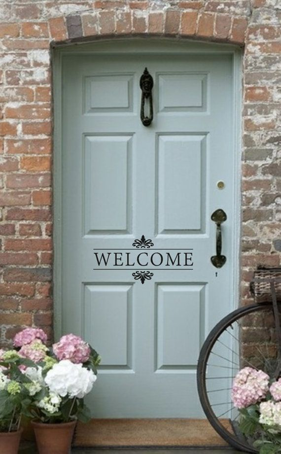 welcome vinyl wall decal front doorback door vinyl lettering for the home on