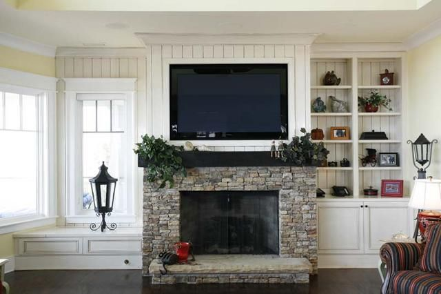 I love the window seat and the bead board walls with the built in tv.