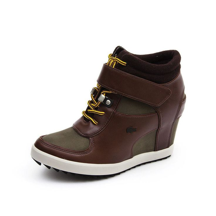 Lacoste Shoes Women Berdine 4 Wedge Sneakers Brown Leather Authentic $200 NEW #Lacoste #PlatformsWedges