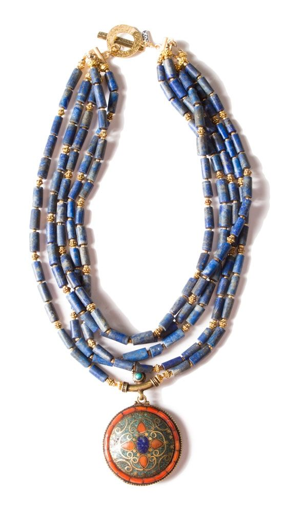 Lapis Lazuli Necklace w/Bali Brass and Moroccan Pendant