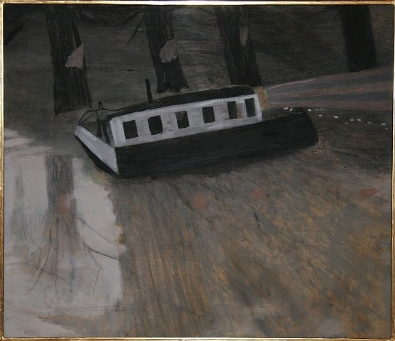 Moths flying into the light of the barge by Mary Newcomb from Crane Kalman Gallery