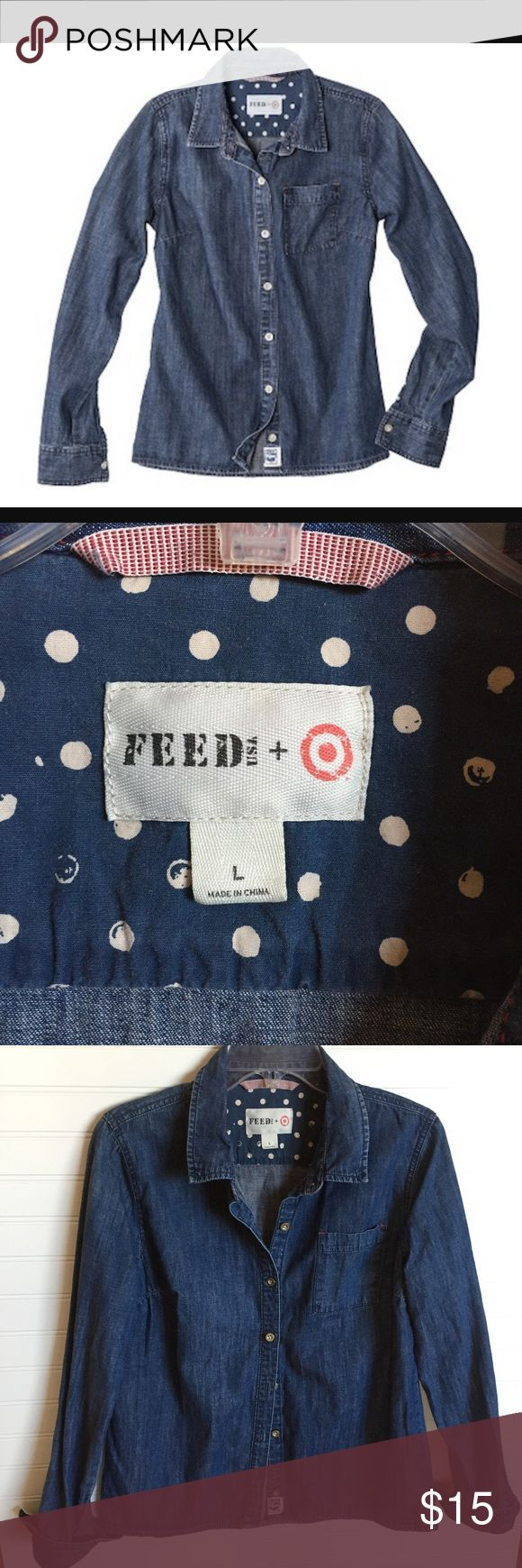 """FEED USA+Target Long-sleeve Chambray Shirt  A Feed USA+Target classic denim shirt with red stitching & cute polka dot accents. Dark wash look. Can be worn buttoned or an open/unbuttoned look with a cute tee or tank❤️Previously loved-good condition. Size L IMO shirt fits more like a med/or smaller end of large size; see measurements to determine if it will work for you. Super cute! If it doesn't sell I'm keeping it!  Measurements are approx. (flat): length 26"""", armpit to armpit 20"""".  Comes…"""