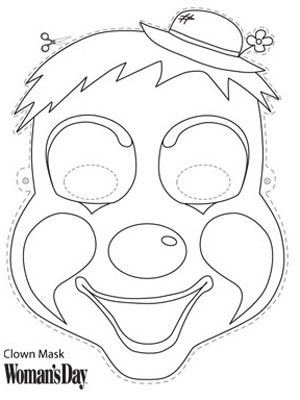 Halloween Crafts- Clown Face Mask to Color at WomansDay.com - Woman's Day