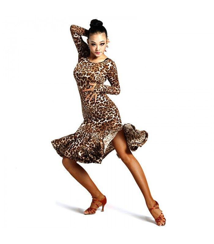 Damen Lateinkleid Brown Leopard Style Trainingsbekleidung Tanzsport - Turnierbekleidung|Dancefashion