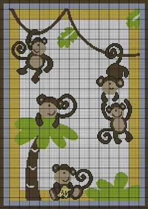 baby monkey cross stitch patterns | graph patterns babies children baby monkey jungle crochet pattern ...