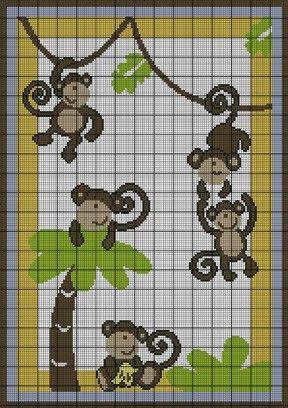 baby monkey cross stitch patterns | graph patterns babies children baby monkey jungle crochet pattern ...
