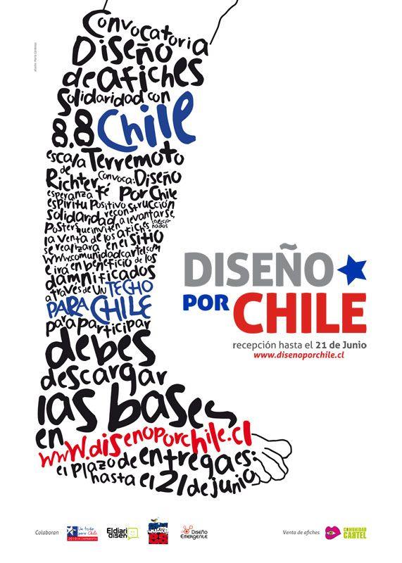 Afiche convocatoria para Diseño por Chile, evento que convoco a grandes afichistas de Chile y el mundo en solidaridad por el terremoto Chile 2010
