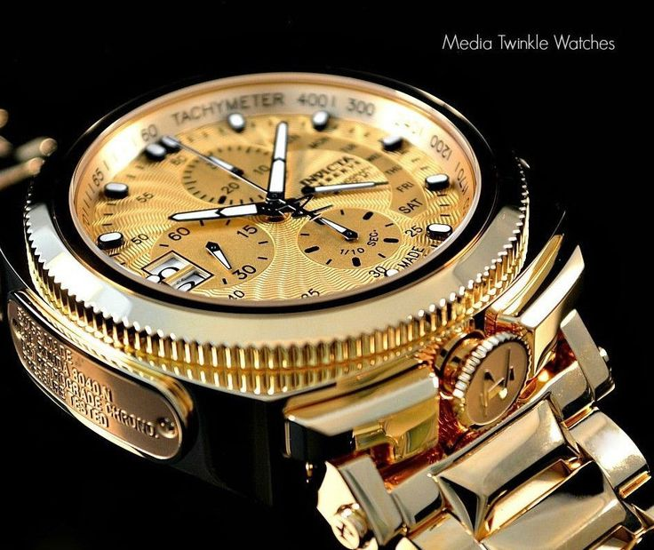 17 best images about watch this invicta reserve mens excursion swiss 18kt gp gold tone dial ss bracelet watch