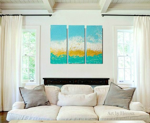 triptych art painting large wall art painting on 3 by artbyheroux