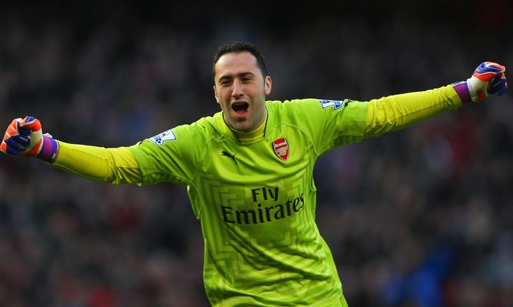 March 1st. 2015: goalkeeper David Ospina celebrates a victory over Everton at the Emirates.