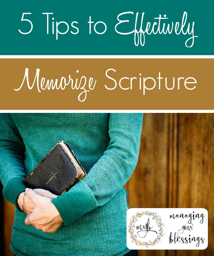 Need some tips to help you effectively memorize Scripture? Come see 5 ways that I've been able to commit the Bible to my memory and heart! :: ManagingYourBlessings.com