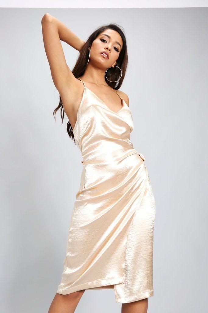 e736ef9d25e2 Champagne Satin Wrap Midi Dress | Beautiful Satin | Dresses, Satin cami  dress, Satin dresses