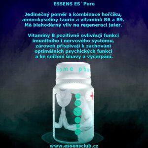 Essens ES`Pure   Essens Club Czech -  kombinace hořčíku a aminokyseliny taurin má blahodárný vliv na regeneraci jater, které mají krom jiného funkci čistit organismus od toxinů kolujících v krevním či lymfatickém systému • vitaminy B přispívají ke snížení únavy a vyčerpání, působí na energetický etabolismus • bez umělých barviv, cukru, lepku a laktózy http://essensclub.cz/essens-espure/