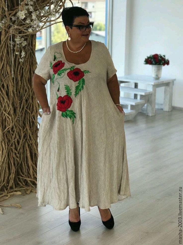 Купить или заказать Платье в интернет-магазине на Ярмарке Мастеров. Платье льняное с элементами аппликации и вышивки. Авторская работа. Состав ткани: вываренный лён.