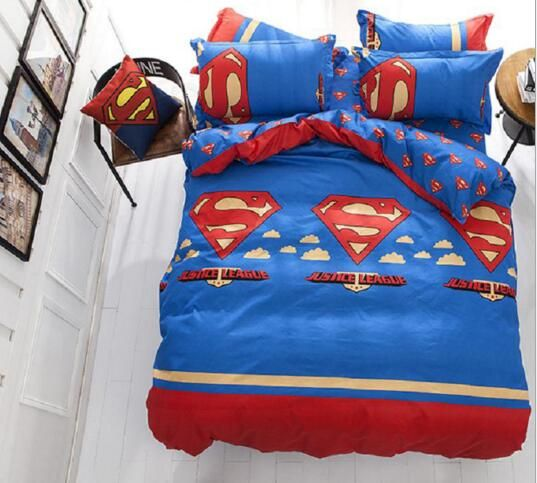 Kids Boys Superman Bedding set Twin /Queen/Full Size Bed Linen/Bed Sheet Duvet Cover For Christmas 4Pcs //Price: $54.82 & FREE Shipping //     #hashtag3