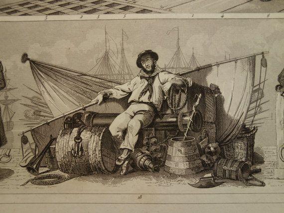 NAVAL UNIFORMS print 1849 original antique by DecorativePrints