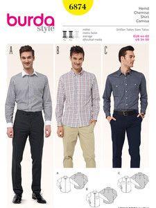 burda style: Schnitte Katalog - Männermode & Sportswear - Herrenhemd – verschiedene Kragen