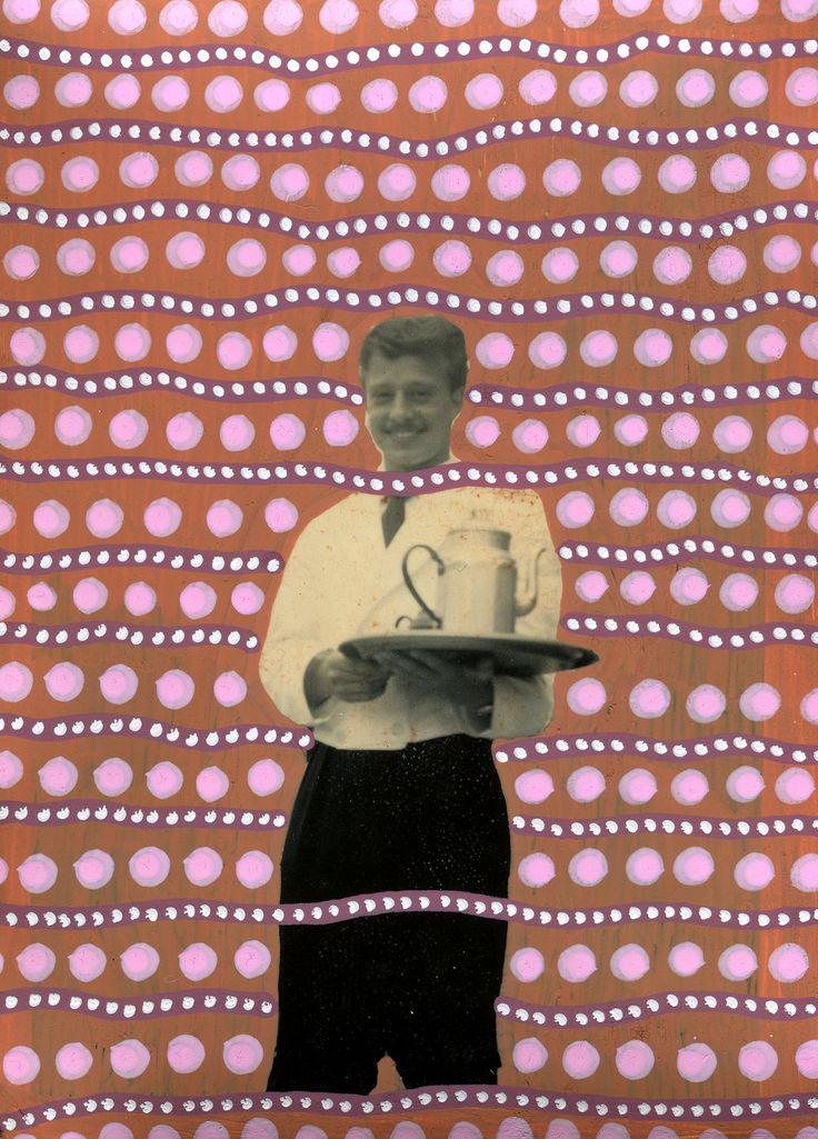 Foto Vintage Cameriere Che Sorride Manipolata A Mano Con Penne Colorate