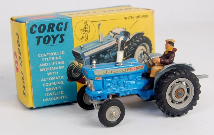 Lot 1749 - Corgi Toys, 67 Ford 5000 Super Major tractor, blue and grey body with grey plastic hubs, jewelled